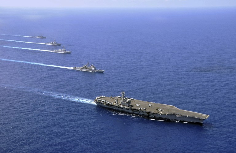 Naval ships in the ocean