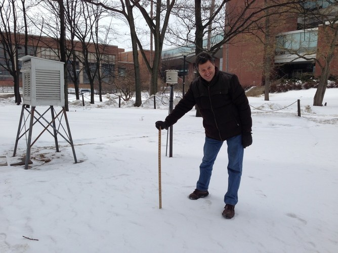 Bill Syrett Measures snow